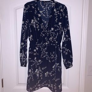 GAP Navy Long Sleeve Wrap Dress - medium